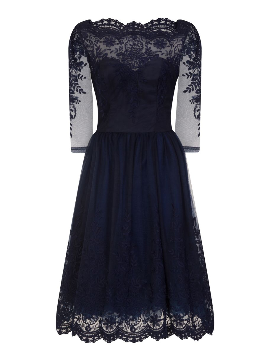 Chi Chi London Baroque Style Tea Dress, Blue