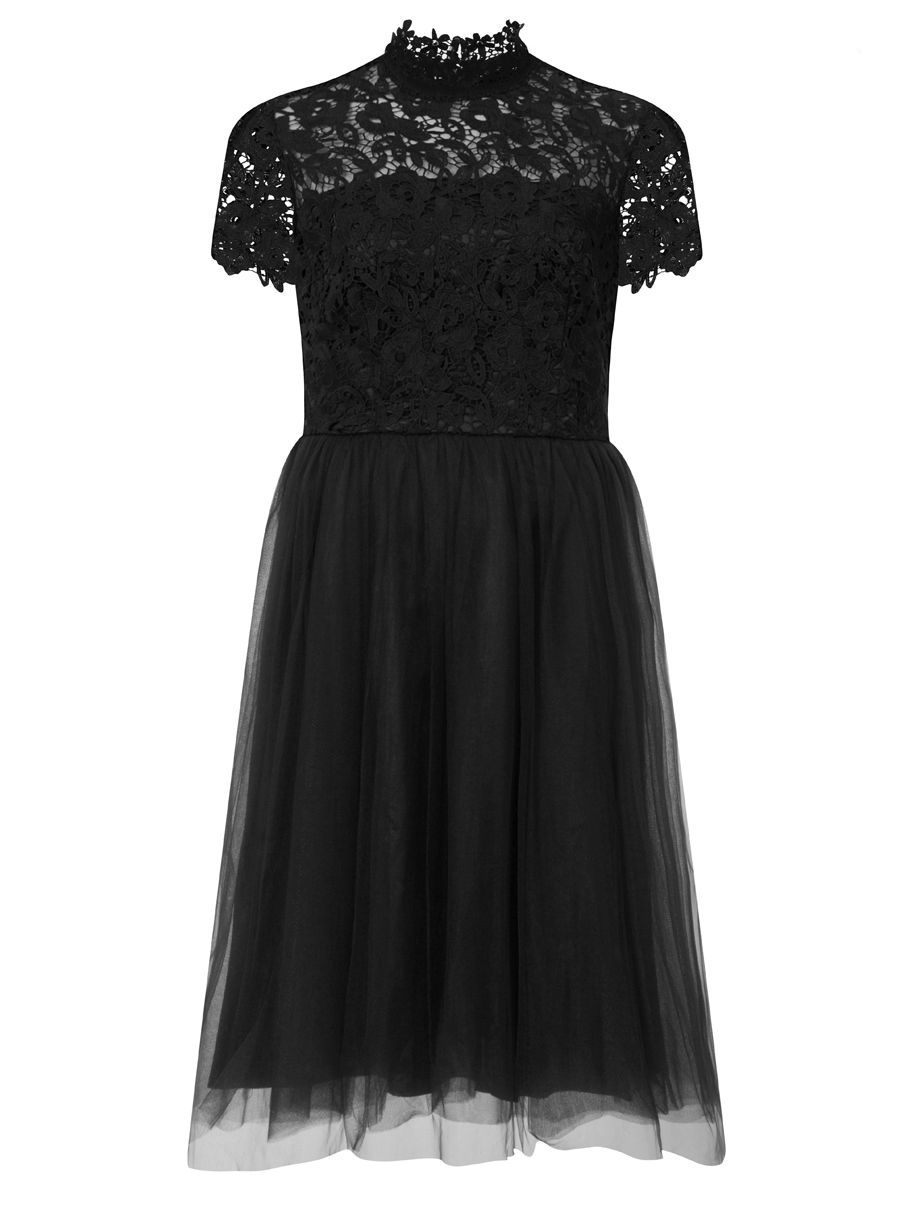 Chi Chi London Lace High Neck Skater Dress, Black