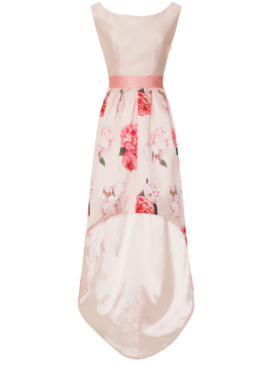 Chi Chi London Digital Floral Print High Low Dress, Pink