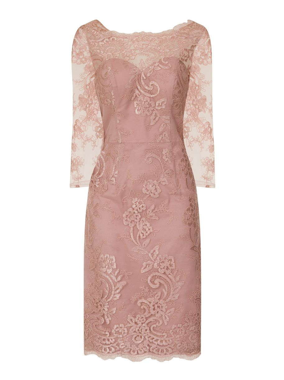 Chi Chi London Embroidered Bodycon Dress, Pink