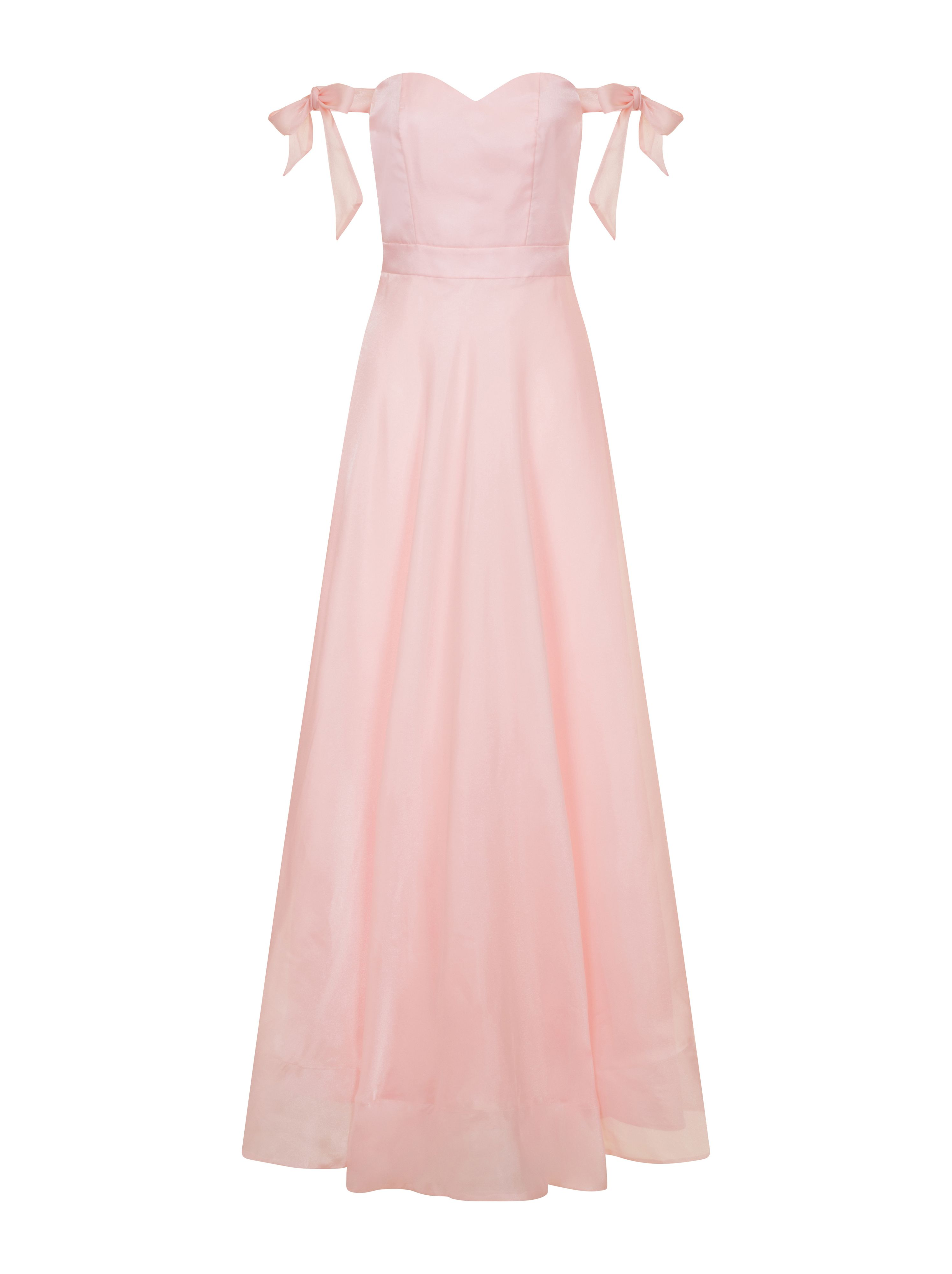 Chi Chi London Bardot Bow Detail Maxi Dress, Pink