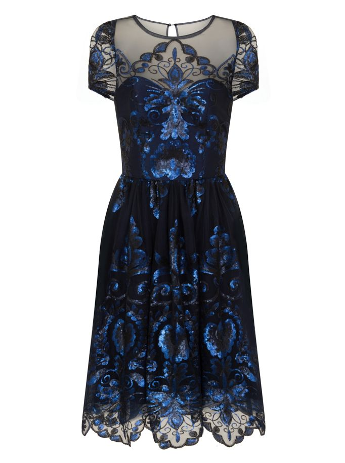 Chi Chi London Sequinned Midi Dress, Blue