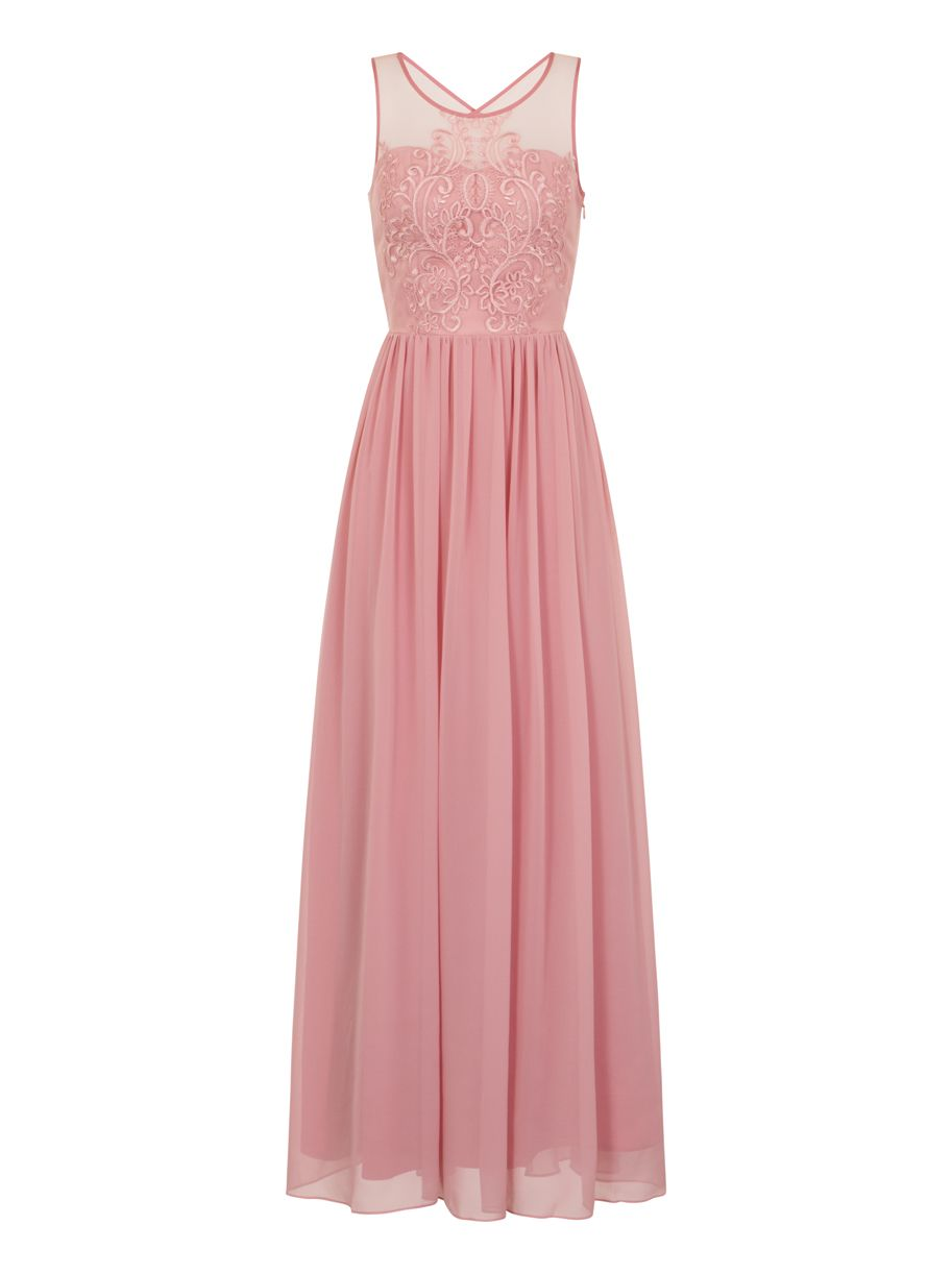 Chi Chi London Embroidered Bodice Maxi Dress, Pink