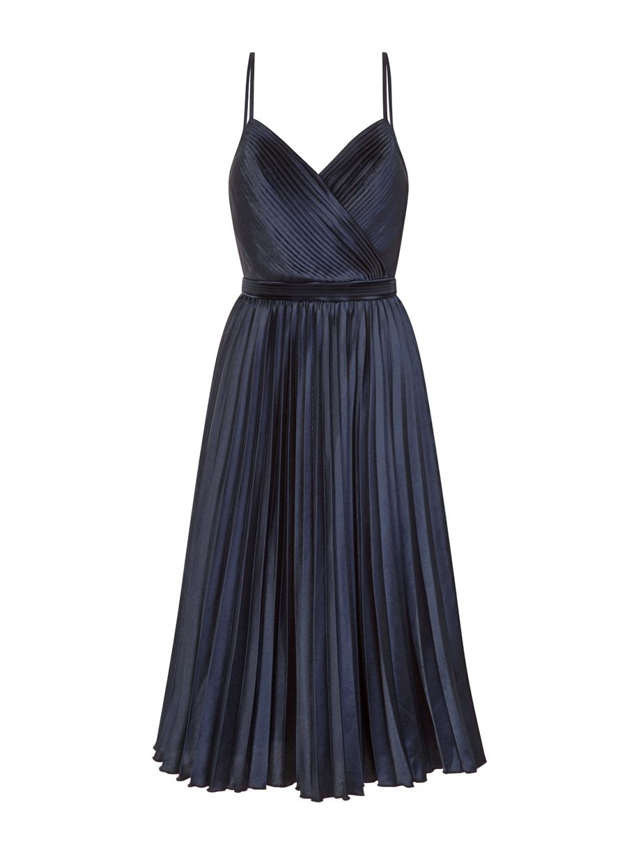 Chi Chi London Pleated Midi Dress, Blue
