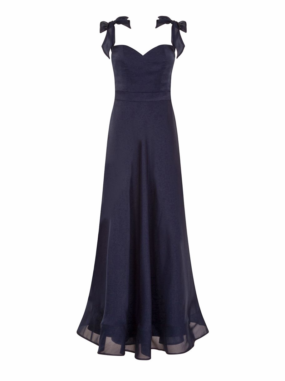 Chi Chi London Bardot Bow Detail Maxi Dress, Blue