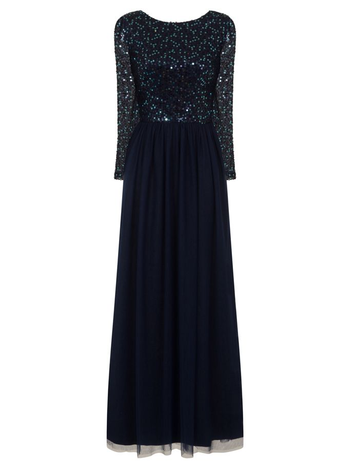 Chi Chi London Sequinned Maxi Dress, Blue