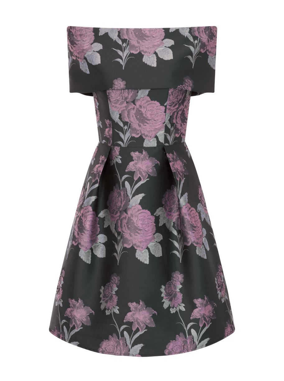 Chi Chi London Jacquard Midi Dress, Purple