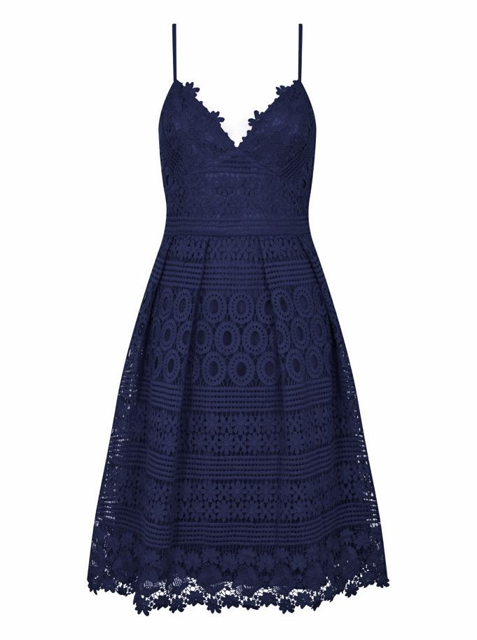 Chi Chi London Crochet Midi Dress, Blue