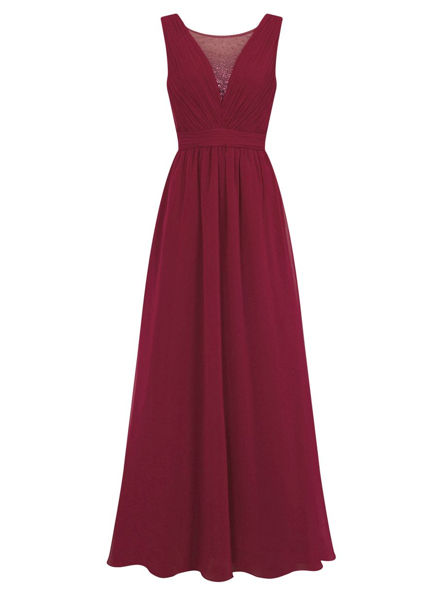 Chi Chi London Sheer Beaded Panel Maxi Dress, Red