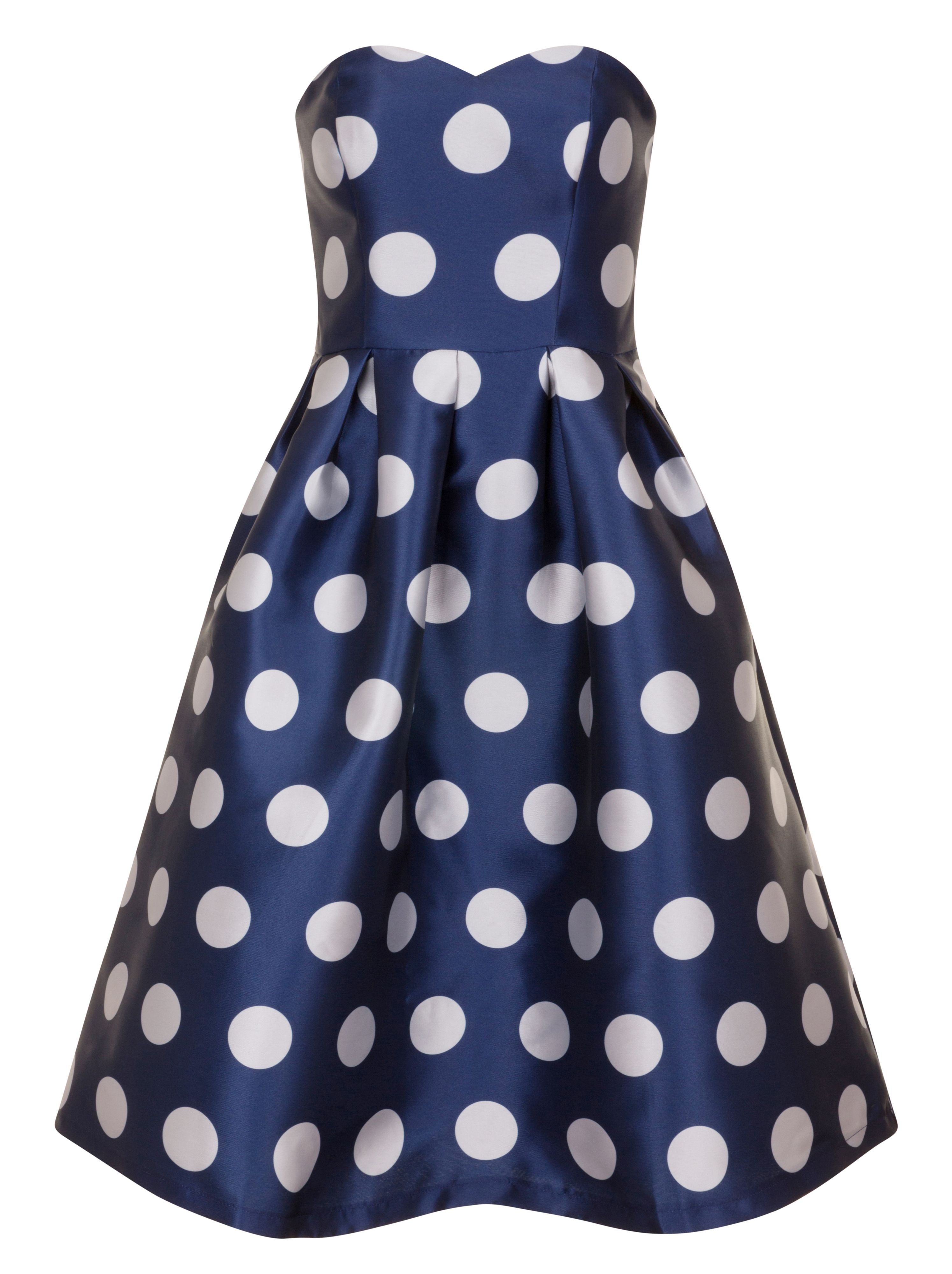 Chi Chi London Polka Dot Midi Dress, Blue