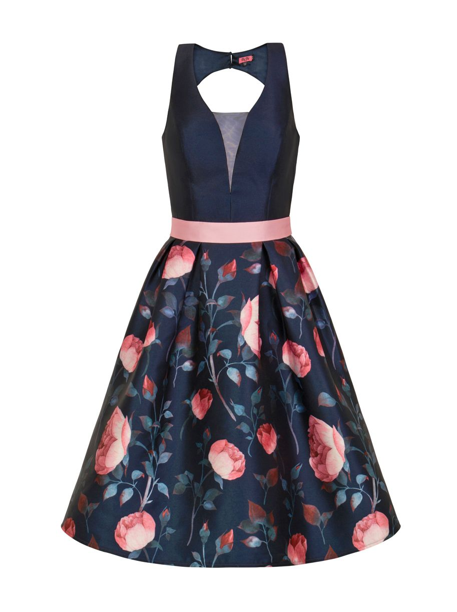 Chi Chi London Floral Print Midi Dress, Blue