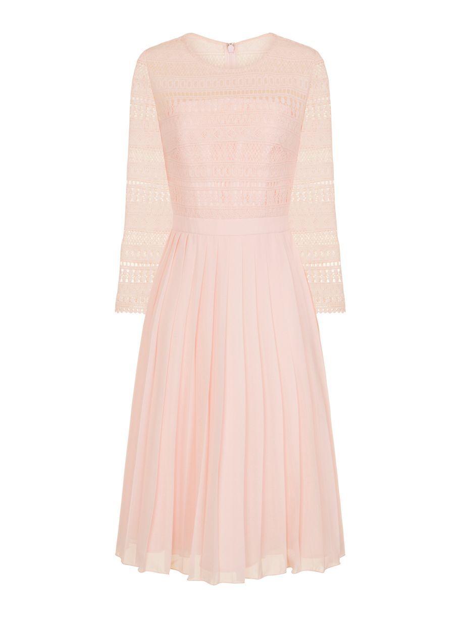Chi Chi London Crochet Bodice Midi Dress, Pink