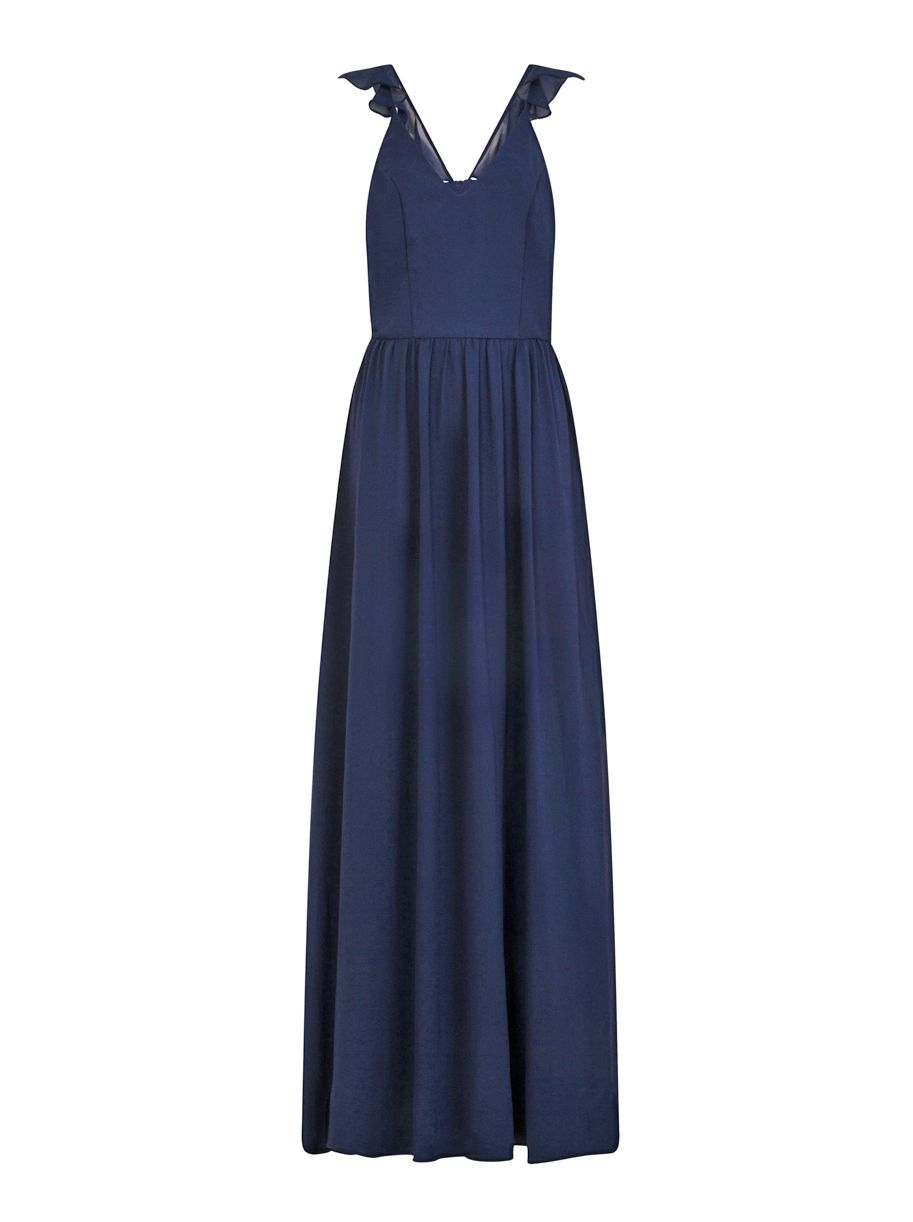 Chi Chi London Ruffle Strap Maxi Dress, Blue