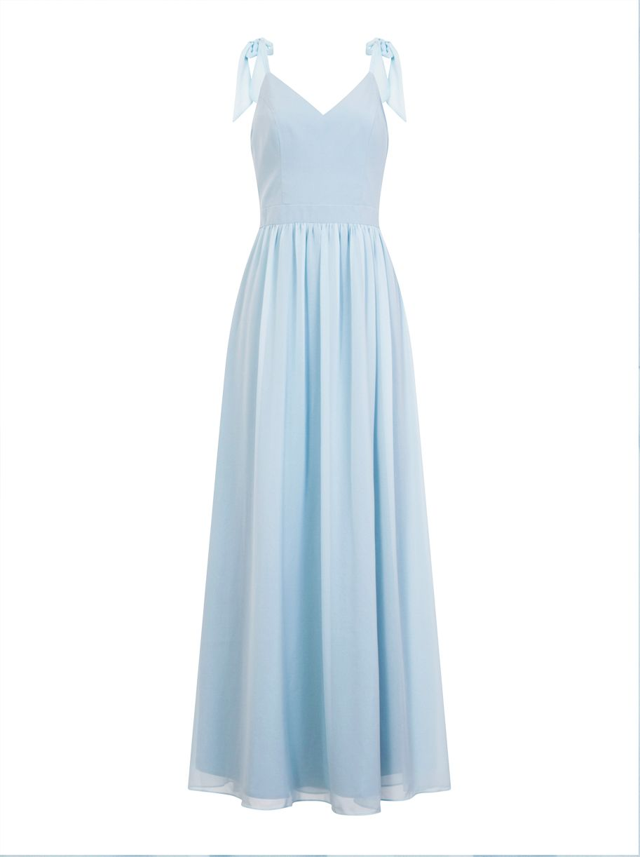 Chi Chi London Bow Shoulder Maxi Dress, Blue