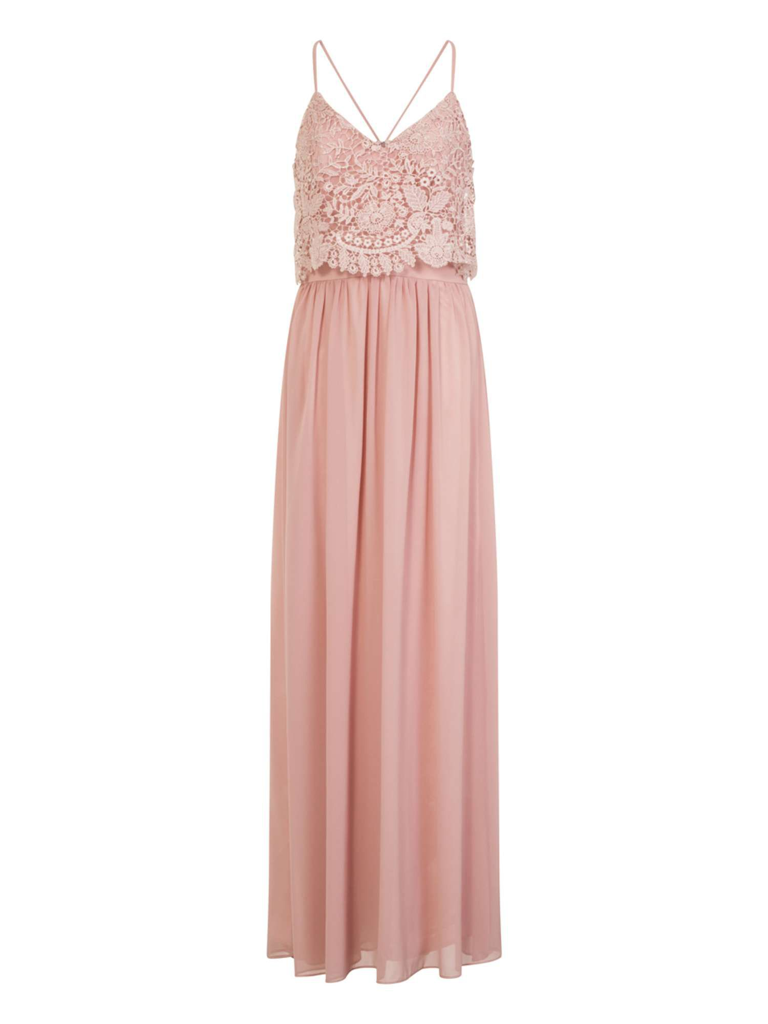Chi Chi London Crochet Overlay Maxi Dress, Pink