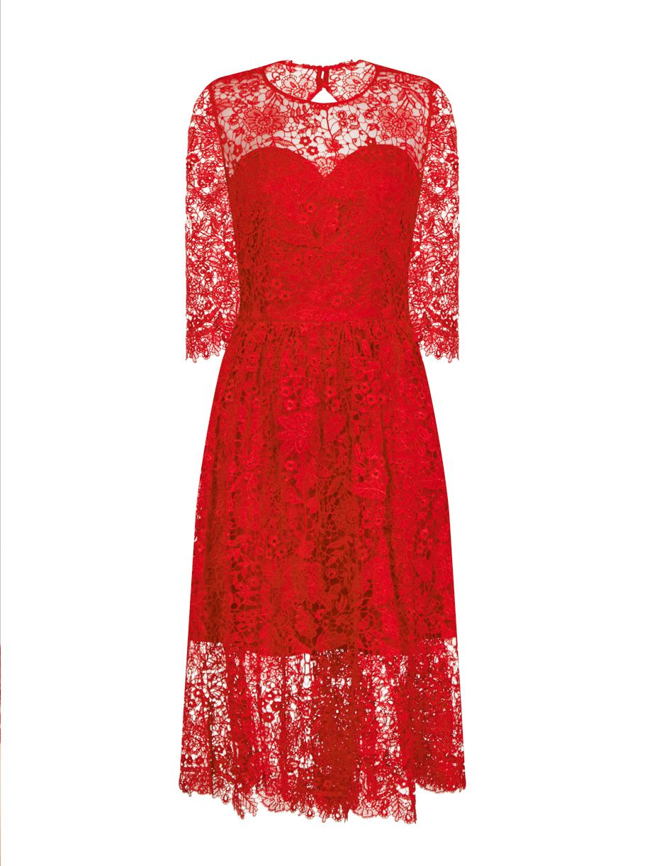Chi Chi London Crochet Midi Dress, Red