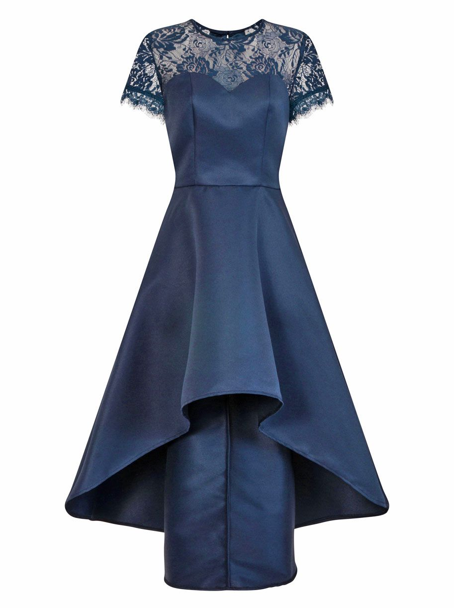 Chi Chi London Lace Panel Dip Hem Dress, Blue