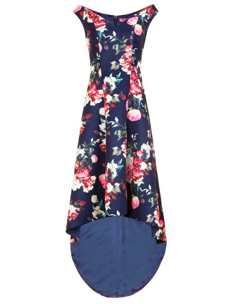 Chi Chi London Floral Print Dip Hem Dress, Blue