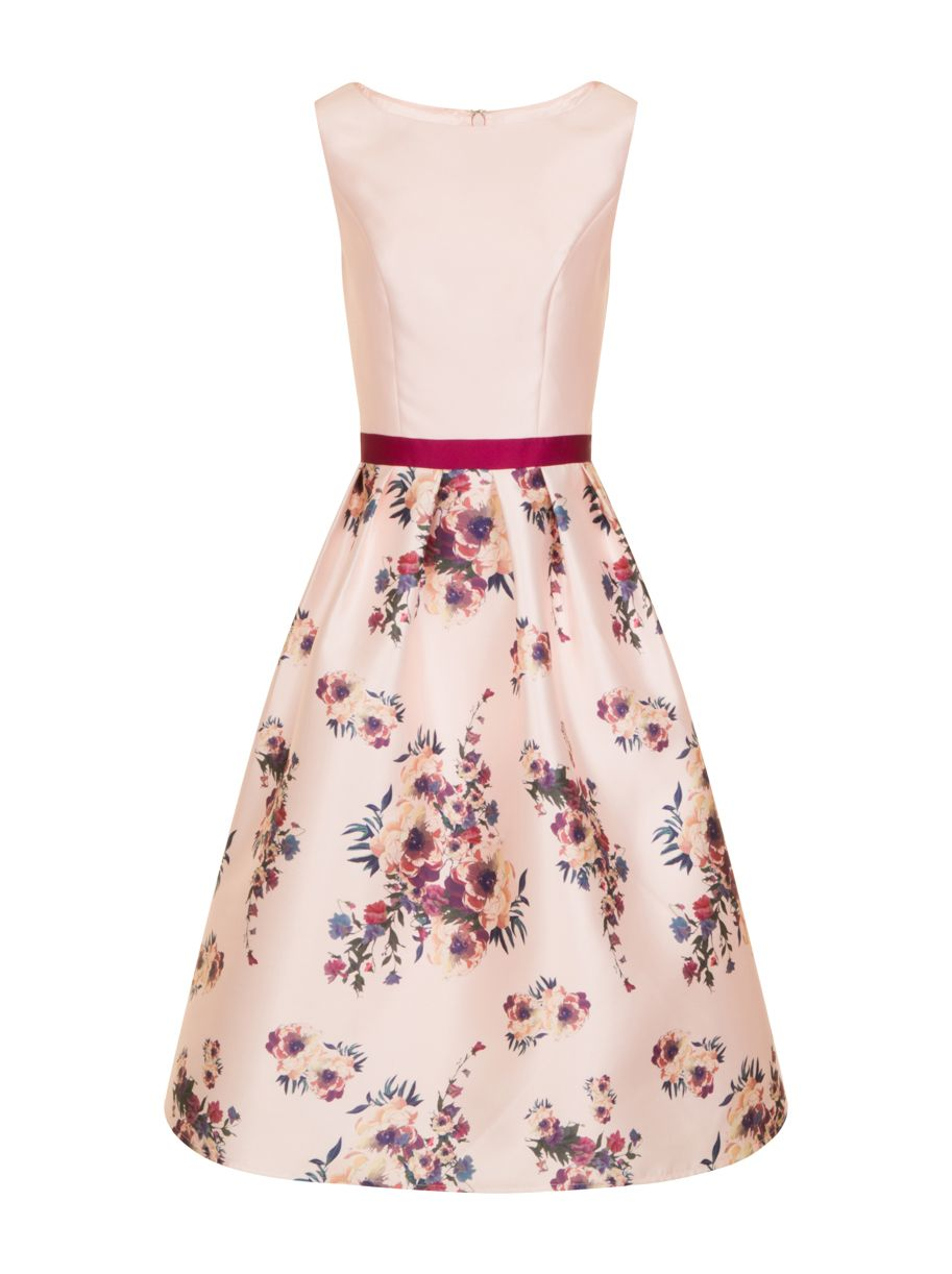 Chi Chi London Digital Floral Print Midi Dress, Pink