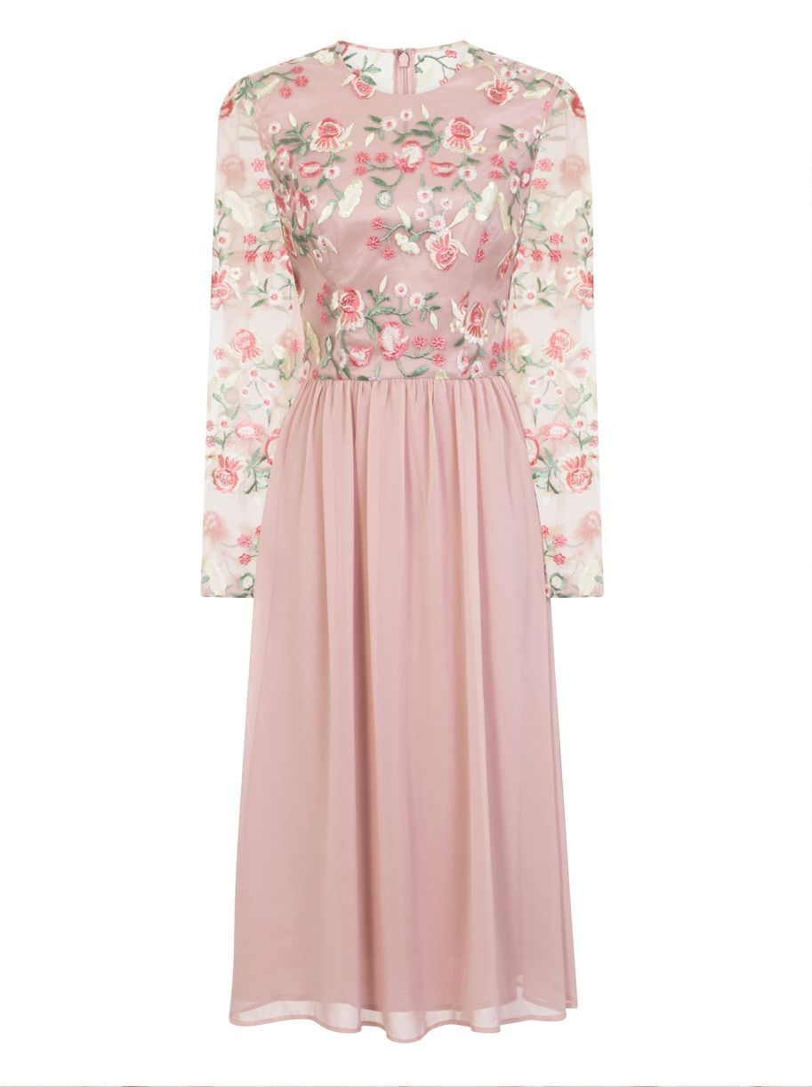 Chi Chi London Floral Embroidered Midi Dress, Nude