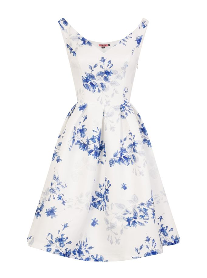 Chi Chi London Printed Bardot Midi Dress, White