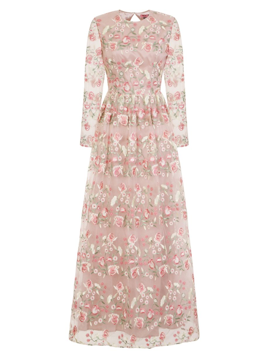 Chi Chi London Floral Embroidered Maxi Dress, Nude