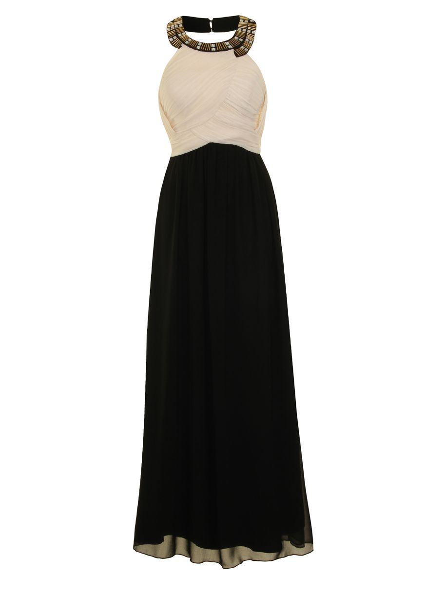 Chi Chi London Diamante And Beaded Halterneck Maxi $14.99 AT vintagedancer.com