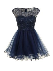 Lace and sequin prom dress