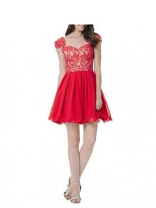 Lace Cap Sleeve Skater Dress