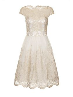 Metallic lace tea dress