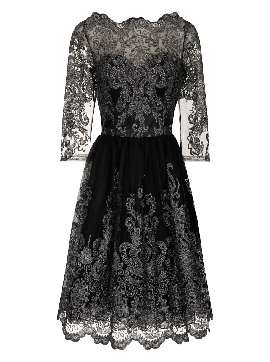 Vintage Inspired Bridesmaid Dresses Chi Chi London Metallic lace tea dress £74.99 AT vintagedancer.com
