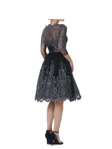Chi Chi London Metallic lace tea dress