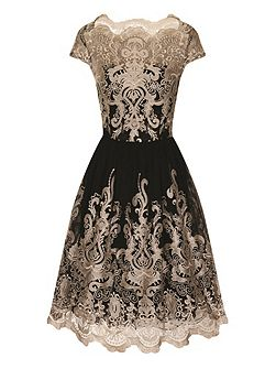 Metallic embroidered tea dress