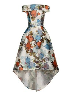 Digital Print Bardot Dip-Hem Dress