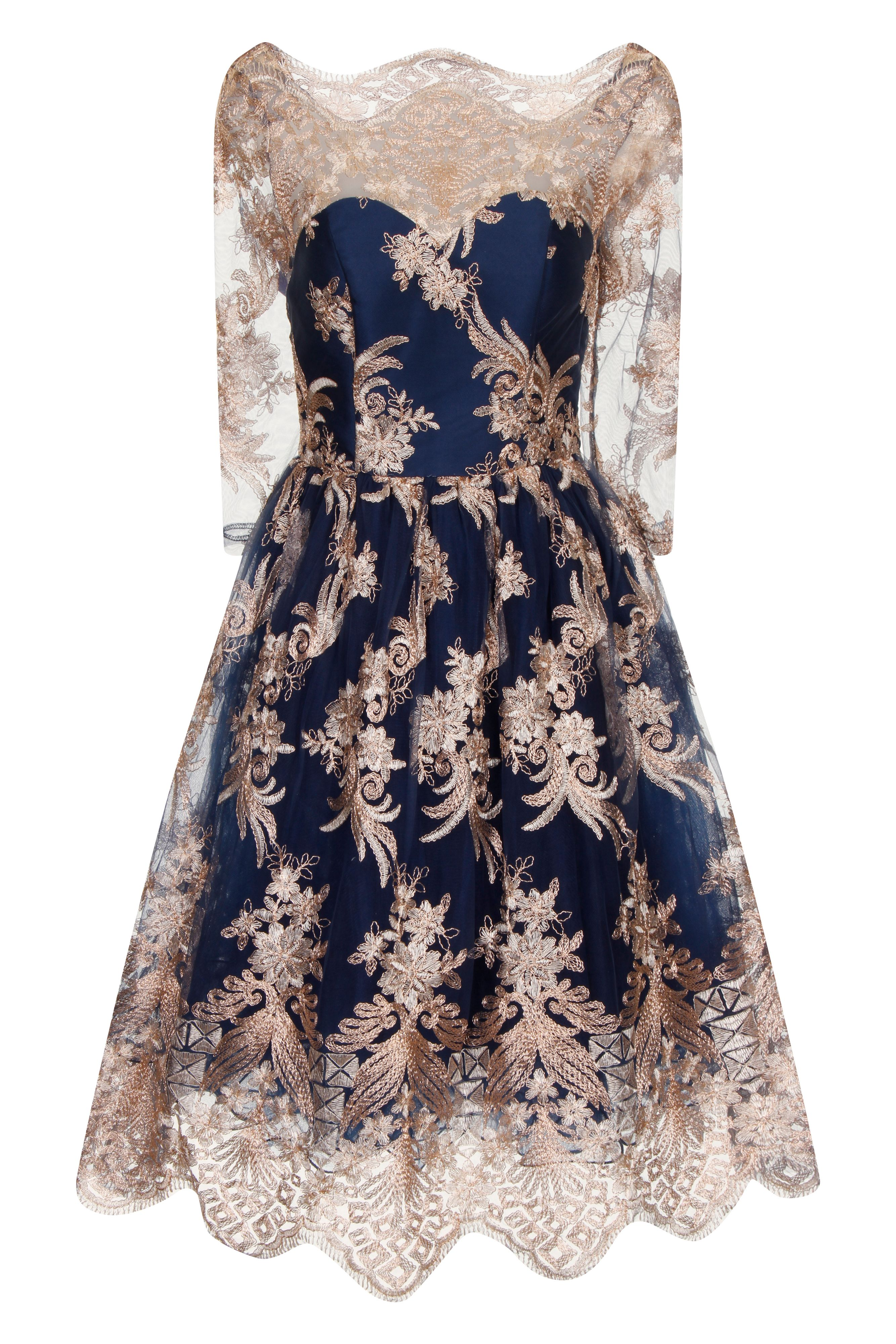 Chi Chi London Metallic 34 Baroque Style Tea Dress Navy £79.99 AT vintagedancer.com