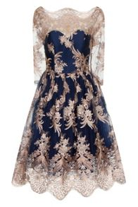 Metallic 3/4 Baroque Style Tea Dress