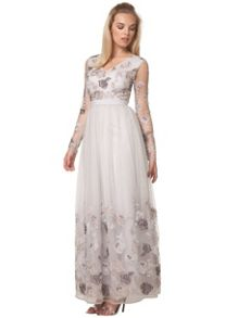 Chi Chi London Floral Embroidered Maxi Dress
