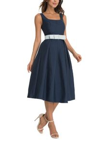 Midi Dress With Bow Belt