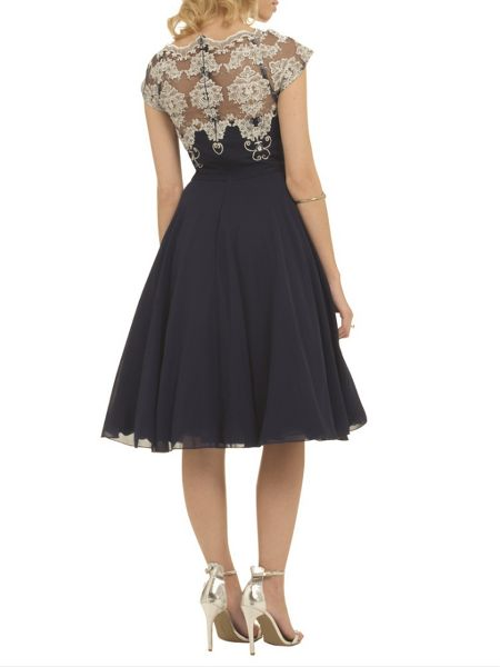 Chi Chi London Metallic embroidered bodice prom dress