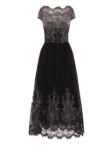 Chi Chi London Metallic Embroidered Lace Maxi Dress