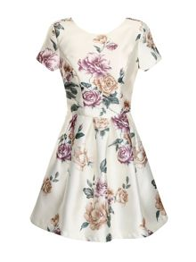 Floral print cap sleeve skater dress