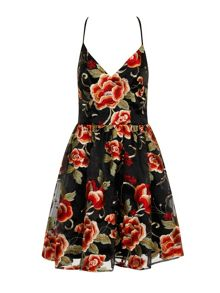 Chi Chi London Oriental floral embroidered skater dress