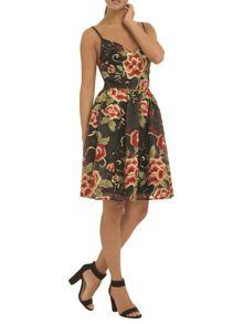 Oriental floral embroidered skater dress