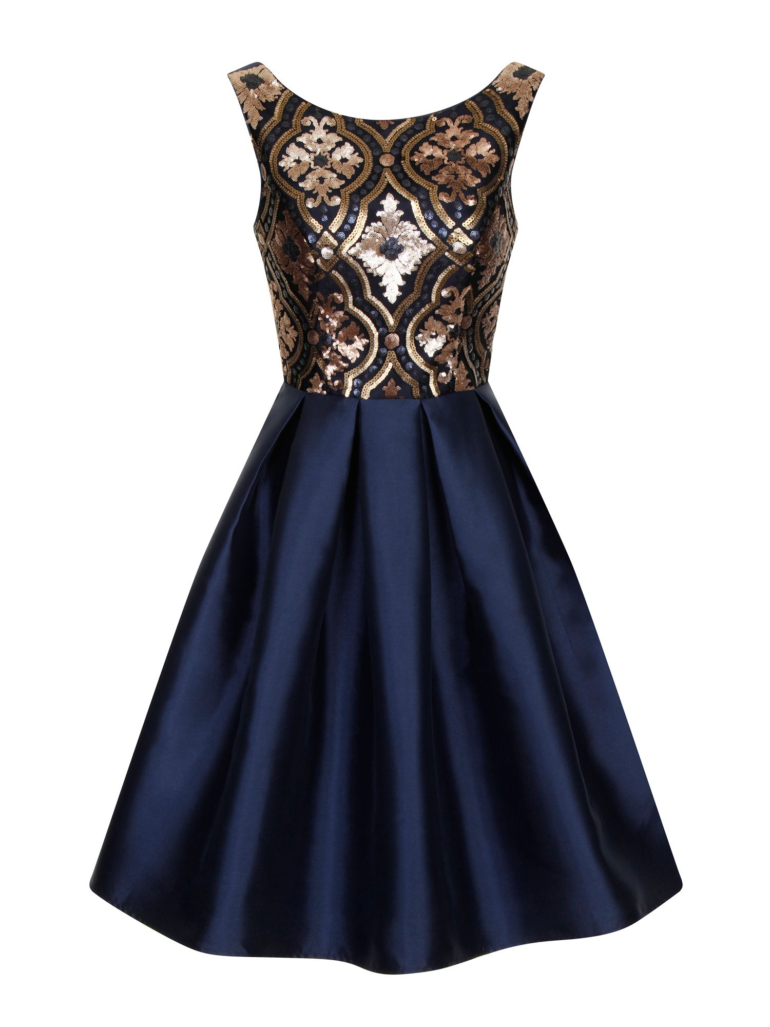 Chi Chi London Regal sequin skater dress, Blue