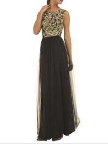Baroque style embroidered maxi dress