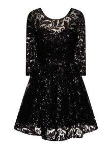 Sequin lace skater party dress