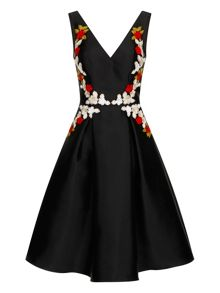 Chi Chi London Floral embroidered midi prom dress