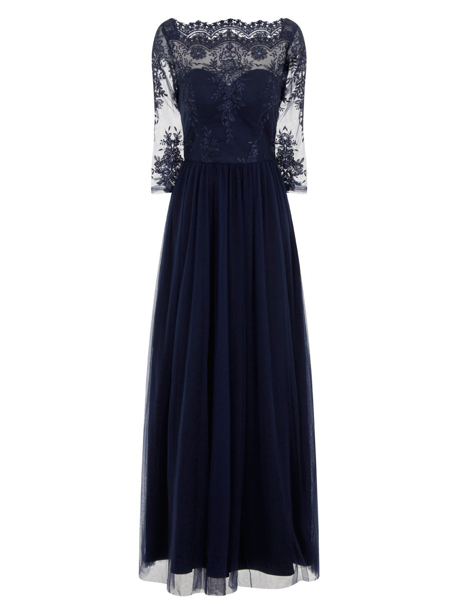 Chi Chi London Embellished Embroidered Maxi Dress, Blue