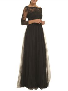 Embellished embroidered maxi dress