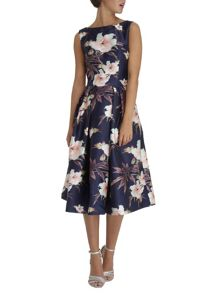 Digital floral print midi skater dress